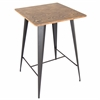 LumiSource Oregon Pub Table, Medium Brown Top / Grey Finish