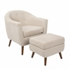 LumiSource Rockwell Mid-Century Modern Chair With Ottoman Included in Beige