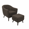 LumiSource Rockwell Mid-Century Modern Chair With Ottoman Included in Espresso