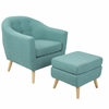 LumiSource Rockwell Mid-Century Modern Chair With Ottoman Included in Teal
