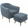 Rockwell Mid-Century Modern Chair with Noise Fabric-Ottoman Included in Blue