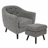 Rockwell Mid-Century Modern Chair with Noise Fabric-Ottoman Included in Dark Grey