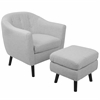 LumiSource Rockwell Mid-Century Modern Chair with Noise Fabric-Ottoman Included in Light Grey