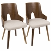 Ariana Mid-Century Modern Chair in Walnut and Beige -Set of 2