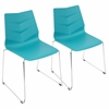 Arrow Contemporary Dining Chair in Turquoise -Set of 2
