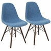 Brady Duo Mid-Century Modern Dining / Accent Chair in Grey and Blue -Set of 2