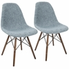 Brady Duo Mid-Century Modern Dining / Accent Chair in Grey and Smokey Blue -Set of 2