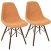 Brady Duo Mid-Century Modern Dining / Accent Chair in Grey and Orange -Set of 2