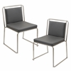 LumiSource Cascade Stackable Dining Chair  Grey, Set of 2