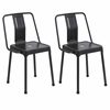 LumiSource Pair of Industrial Style Energy Chairs in Carbon Black Finish