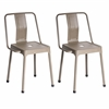 LumiSource Pair of Industrial Style Energy Chairs in Cappuccino Finish
