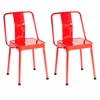 LumiSource Pair of Industrial Style Energy Chairs in Red Finish