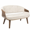 Curvo Mid-Century Modern Tufted Settee in Walnut and Cream