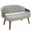 Curvo Mid-Century Modern Tufted Settee in Walnut and Grey