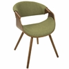 Curvo Mid-Century Modern Chair in Walnut with Green Fabric Seat