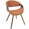 Curvo Mid-Century Modern Chair in Walnut with Orange Fabric Seat