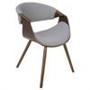 LumiSource Curvo Mid-Century Modern Walnut Chair in Grey Fabric and Walnut Wood by LumiSource, Walnut Wood / Grey Fabric