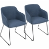 Daniella Contemporary Chair in Blue -Set of 2