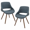LumiSource Fabrico Chair  Walnut / Blue Noise, Set of 2