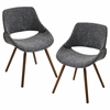 LumiSource Fabrico Chair  Walnut / Grey Noise, Set of 2