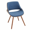 LumiSource Fabrizzi Chair, Walnut / Denim Blue