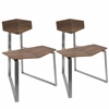 Flight Modern Industrial Stainless Steel Chair in Walnut Wood, Set of 2