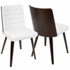 Francesca Mid-Century Modern Chair in Cherry Wood and White PU