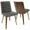 Francesca Mid-Century Modern Chair in Walnut Wood and Grey PU