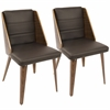 Galanti Mid-Century Modern Dining Chair in Walnut Wood and Brown PU -Set of 2
