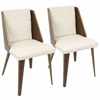 Galanti Mid-Century Modern Dining Chair in Walnut Wood and Cream PU -Set of 2
