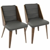 Galanti Mid-Century Modern Dining Chair in Walnut Wood and Grey PU -Set of 2