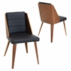 LumiSource Galanti Chair  Walnut / Black, Set of 2