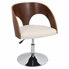 Ava Height Adjustable Chair with Swivel, Walnut / Cream