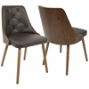 Gianna Contemporary Dining Chair in Walnut and Brown