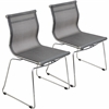 LumiSource Mirage Stackable Dining Chair Silver, Set of 2