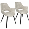 LumiSource Mustang Contemporary Accent Chair in Beige, Set of 2