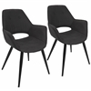 Mustang Contemporary Accent Chair in Black, Set of 2