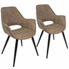 LumiSource Mustang Contemporary Accent Chair in Brown, Set of 2