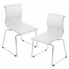 LumiSource Master Stackable Chair  White, Set of 2