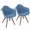 Neo Flair Duo Mid-Century Modern Dining / Accent Chair in Blue and Grey -Set of 2