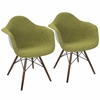 Neo Flair Duo Mid-Century Modern Dining / Accent Chair in Green and Grey -Set of 2