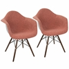 Neo Flair Duo Mid-Century Modern Dining / Accent Chair in Red and Grey  - Set of 2