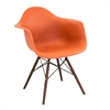 Neo Flair Mid-Century Modern Chairs in Orange and Espresso, Set of 2