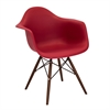 Neo Flair Mid-Century Modern Chairs in Red and Espresso, Set of 2