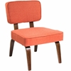 Nunzio Mid-Century Modern Accent Chair in Deep Orange Fabric