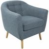 Rockwell Mid-Century Modern Chair with Noise Fabric in Blue