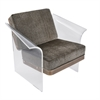 LumiSource Float Chair in Brown Mohair Fabric accented by Walnut Wood and Clear Acrylic