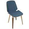 LumiSource Serena Mid-Century Modern Dining Chairs in Blue Fabric and Walnut Wood, Set of 2