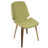 LumiSource Serena Mid-Century Modern Dining Chairs in Green Fabric and Walnut Wood, Set of 2