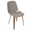 LumiSource Serena Mid-Century Modern Dining Chairs in Light Grey Fabric and Walnut Wood, Set of 2